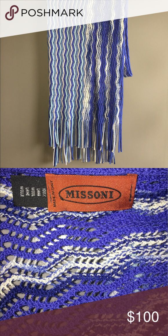 Missoni Knit Scarf Blue multicolored Knit Missoni scarf. Worn once, excellent condition! Missoni Accessories Scarves & Wraps