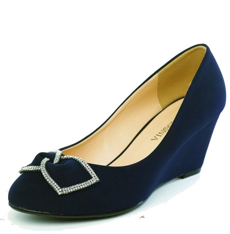 Lasonia Wedge Heels Dress Formal Shoes Navy Blue