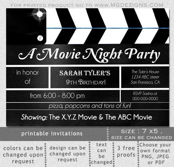 Printable Movie Clapboard Movie Night Birthday Party Invitation - downloadable birthday invitation templates