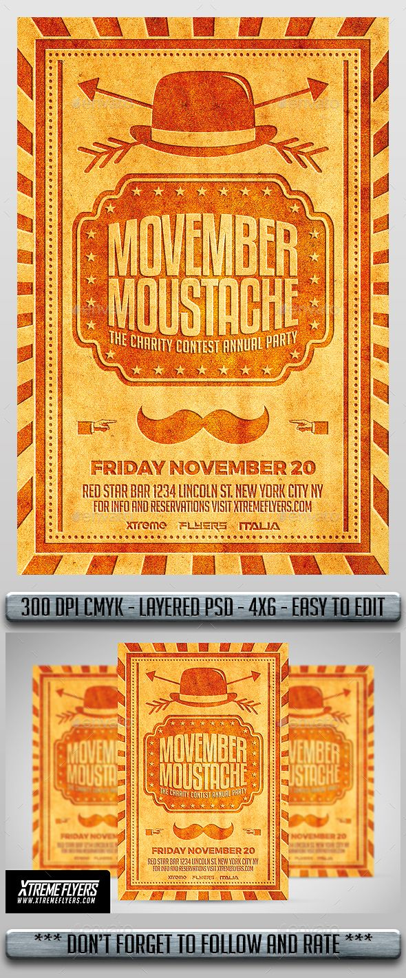 Movember Flyer — Photoshop PSD #circus #hipster flyer • Available here → https://graphicriver.net/item/movember-flyer/13496028?ref=pxcr