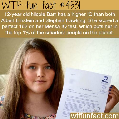 12-year old Girl has higher IQ than Albert Einstein -   WTF fun facts