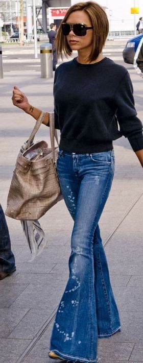 Super Flares- love to say it, but skinny jeans are heading out and big bell bottoms are coming back :)