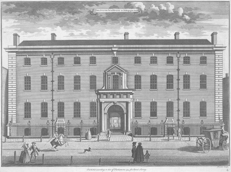 1754 engraving of Old South Sea House, the headquarters of the South Sea Company, burned down in 1826,[1] on the corner of Bishopsgate Street and Threadneedle Street in the City of London