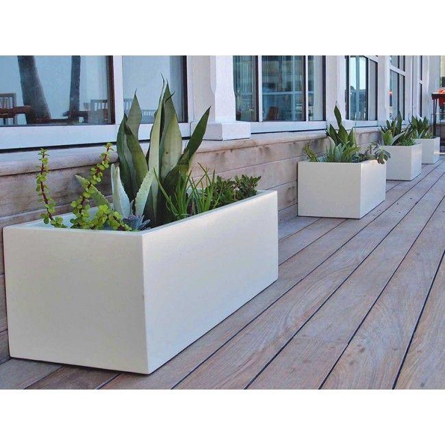 Montserrat Rectangle Fiberglass Planter - White