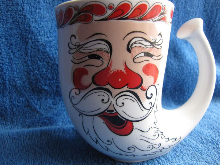 Norway Figgjo ceramic Mug Christmas Santa Claus New Years gift Decor handmade #Figgjo