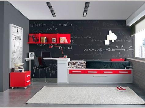 Colores para cuartos juveniles negro rojo habitacion en for Alcobas juveniles modernas