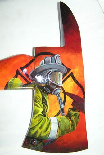 Firefighter Equipment Art - Unique, 1 of a kind, Hand Painted Firefighter Scenes