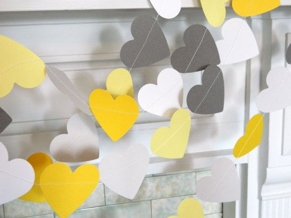 Paper Heart Garland/ 10ft Yellow Gray and by anyoccasionbanners, $12.50