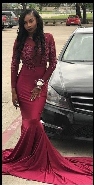 6be9451cce8 Mermaid Long Sleeves Burgundy Prom Dress