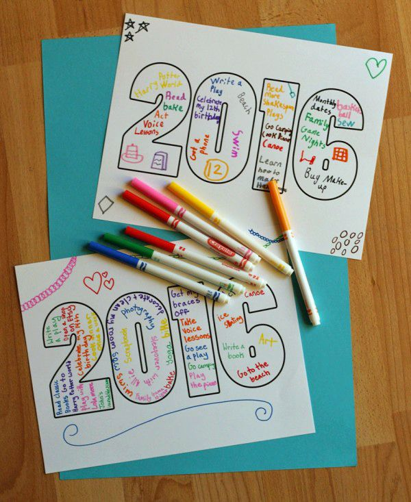 2016 Word Art printable for kids - doodle and write your wishes and plans for the new year!