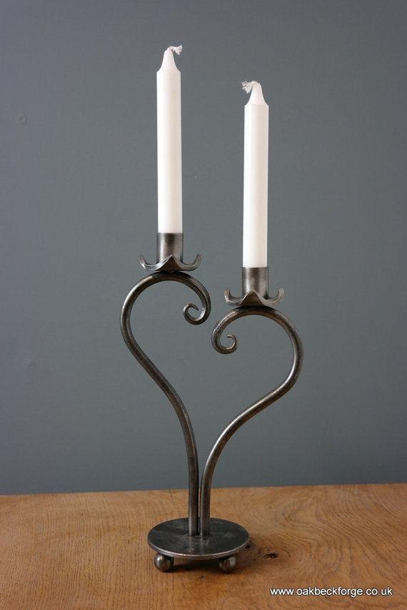 Heart Design Candle holder  Blacksmith Hand Forged by OakbeckForge