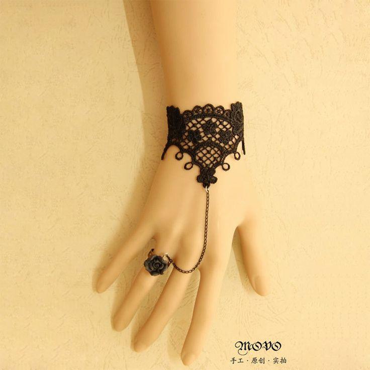 Принцесса готическая лолита мода винтаж черное кружево женщин с ер ен ос аксессуары черная роза ер ен ос