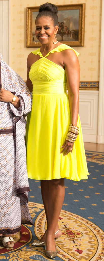 Michelle Obama Is Radiant in a Neon Yellow Dress and Topknot—You Gotta See This Look! Michelle Obama