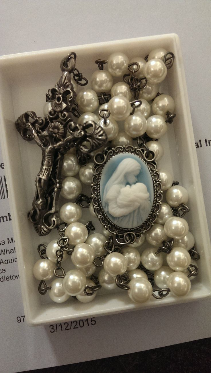 Our new Mary & Child cameo rosary. Gorgeous in person! Available alone or with the same cameo on a rosary box. Great gift for moms and grandmas.