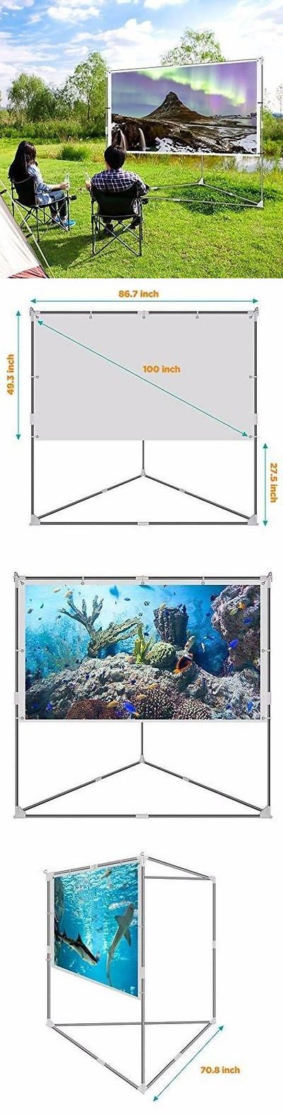 Projection Screens and Material: Video Projector Screen Outdoor Movie Portable Mobile Large Home Backyard Patio -> BUY IT NOW ONLY: $132.1 on eBay!
