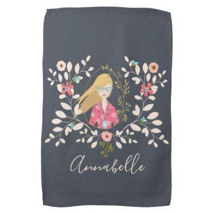 Blonde Long Hair Girl - Selfie Portrait Hand Towel - girl gifts special unique diy gift idea