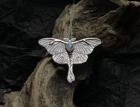 Luna Moth Necklace  Mixed Metal Butterfly Necklace