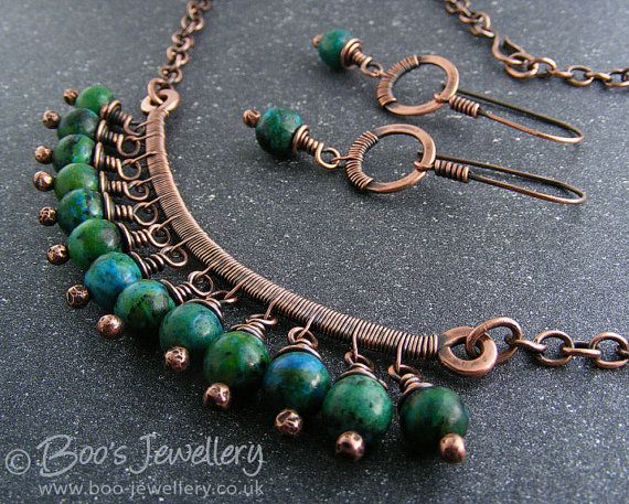 #Antiqued #copper and #blue #green #Chrysocolla by BooJewels