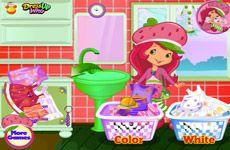 Juegos de Fresita.com - Juego: Lavado de Ropa Rosita - Rosita Fresita Frutillita Tarta de Fresa