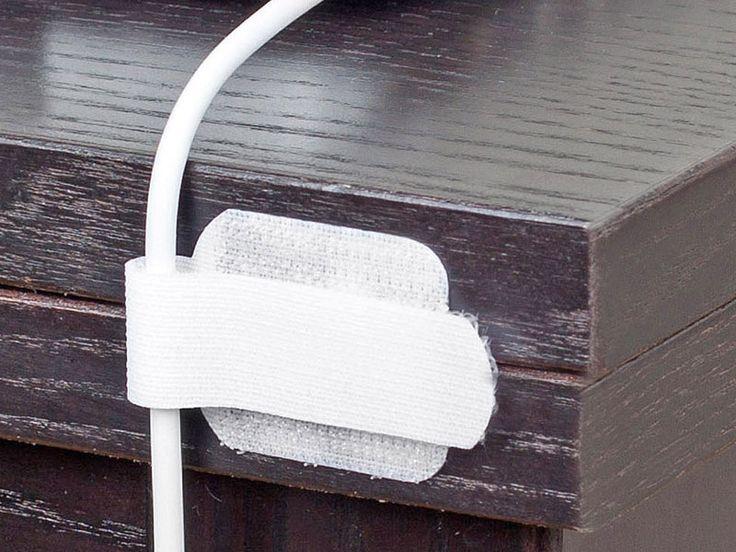"Label the Cable ""Wall"", 10 selbstklebende Klett-Kabelhalter, weiß Kabelbinder"