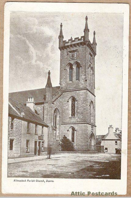 Vintage postcard of Kilmadock Parish Church in Doune, Stirling, Scotland.