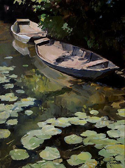 Raymar Art Competition Finalist Deux barques a la Roussille. by goineau raphaële  Oil 50 cm x 65 cm