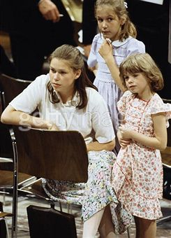 Lady Sarah Armstrong Jones, India Hicks and Clementine Hambro at wedding rehearsal 1981 for Charles and Diana