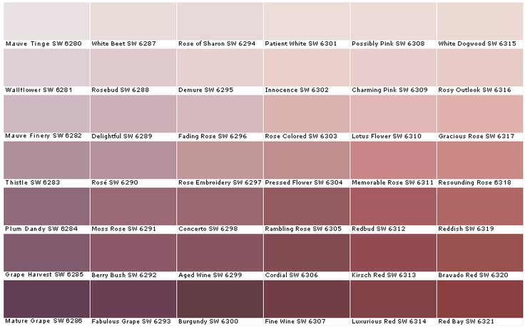 SW Sherwin Williams SW6280	Mauve Tinge  SW6281	Wallflower  SW6282	Mauve Finery  SW6283	Thistle  SW6284	Plum Dandy  SW6285	Grape Harvest  SW6286	Mature Grape  SW6287	White Beet  SW6288	Rosebud  SW6289	Delightful  SW6290	Rose  SW6291	Moss Rose  SW6292	Berry Bush  SW6293	Fabulous Grape  SW6294	Rose of Sharon  SW6295	Demure  SW6296	Fading Rose  SW6297	Rose Embroidery  SW6298	Concerto  SW6299	Aged Wine  SW6300	Burgundy  SW6301	Patient White  SW6302	Innocence  SW6303	Rose Colored