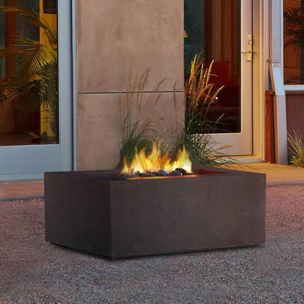 Real Flame Baltic Square Nat Gas Kodiak Brown 36 in. L x 36 in. W x 15.5 in. H Square Fire Table