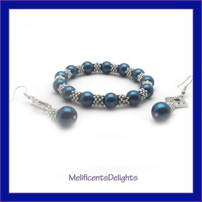 Dark Blue pearlised beaded bracelet & earring set - gift boxed - tibetan style  £5.99 free shipping