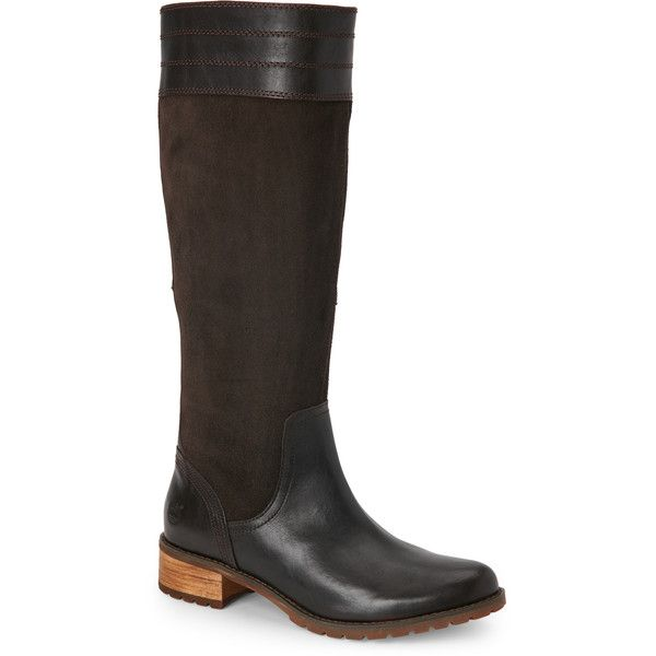 Timberland Dark Brown Bethel Tall Low Heel Riding Boots (105 AUD) ❤ liked on Polyvore featuring shoes, boots, brown, knee-high boots, brown knee high boots, knee boots, tall riding boots, dark brown boots and dark brown riding boots