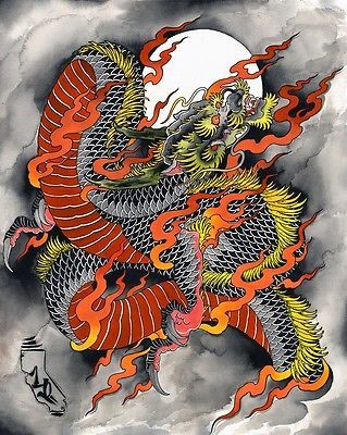 Kali Dragon by Kali Tattooed Asian Chinese Dragon Fine Giclee Art Print | eBay