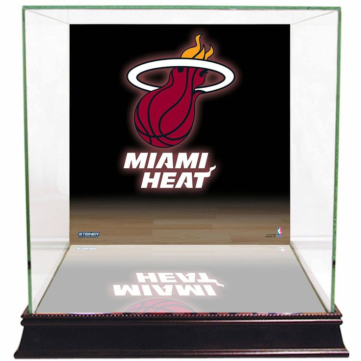 Steiner Sports Glass Basketball Display Case with Miami Heat Logo Background, Multicolor