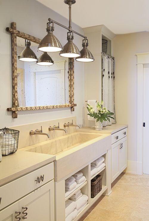 Love this farm sink in the bathroom. #bathroom #design