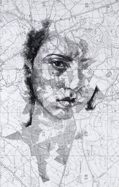 Illustration Ed Fairburn drawing over maps, interesting, could be hidden meanings, could be interpreted differently.