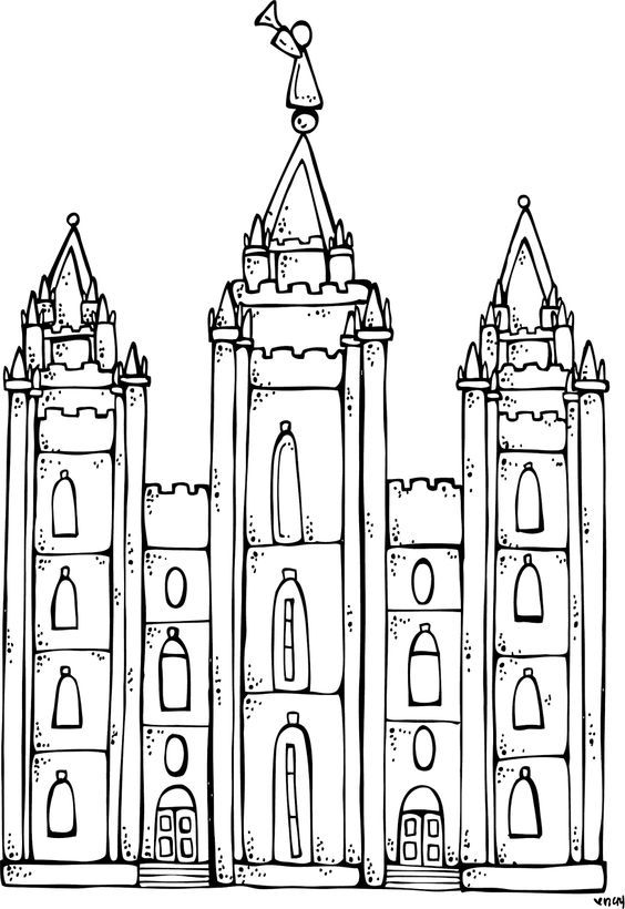 Melonheadz LDS illustrating: I Love to see the temple coloring page, and Salt Lake City Temple:
