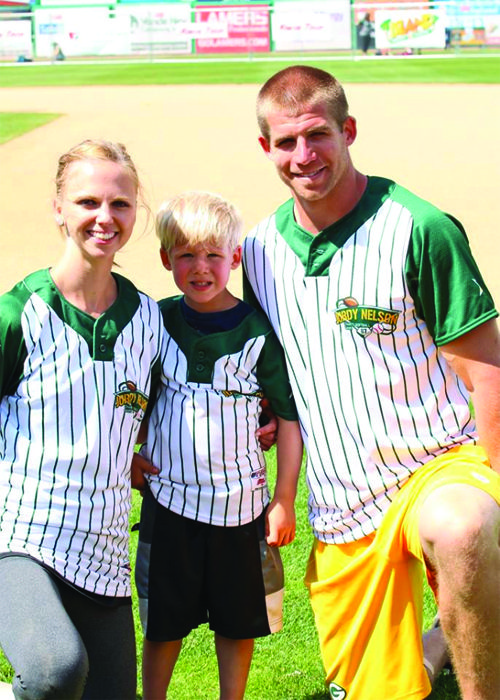 Jordy Nelson with his wife and their son Royal.