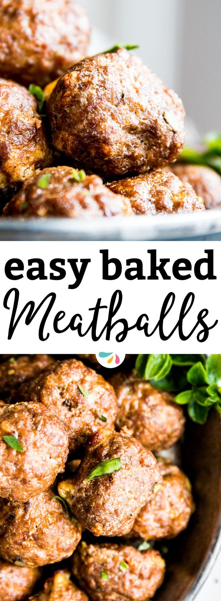 These easy oven baked meatballs are quick and simple to make - without having to babysit them on the stove! This makes them perfect to feed a crowd at a party, too. Serve them in tomato sauce over spaghetti for dinner, or as an appetizer with a dip! | #recipes #meatballs #groundbeef #groundbeefrecipes #beef #beefrecipes #easydinner #dinner #dinnerrecipes #appetizer