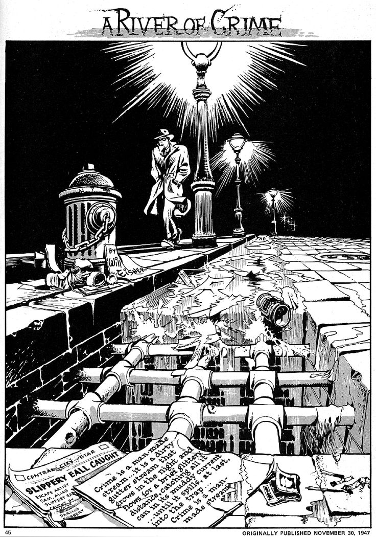 Will Eisner's THE SPIRIT combined elements of film noir into it's moody style, post WWII.