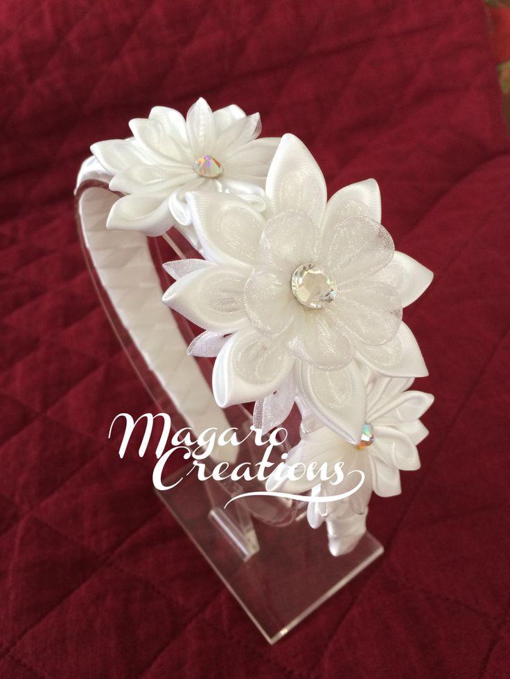Diadema blanca kanzashi accesorio del pelo de por MagaroCreations