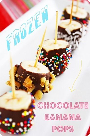 Frozen Chocolate Banana Pops! By using just a little chocolate, these are still ass friendly!