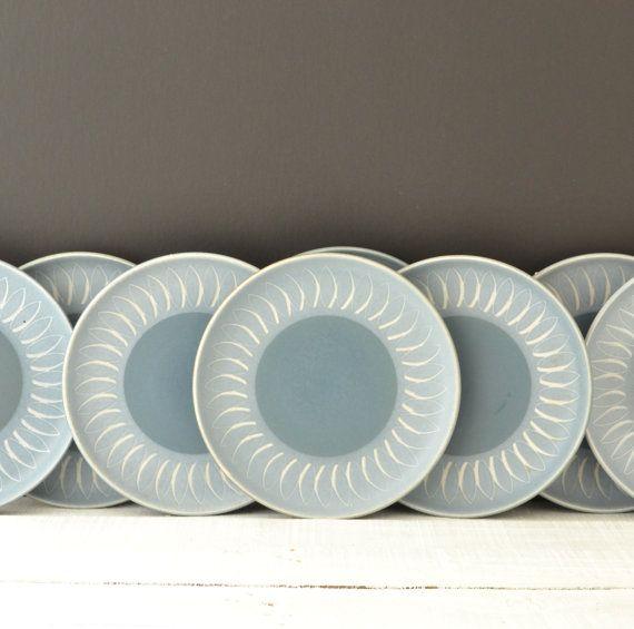 Vintage Dinnerware Plates Echo Blue Pattern Denby