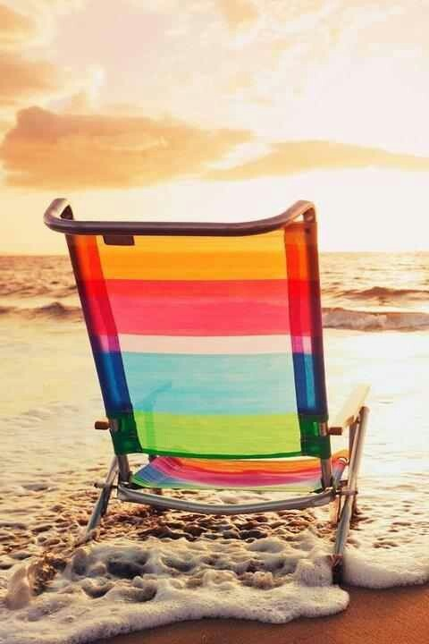 Colorful Beach Chair Resting On The Sand During The Gorgeous Sunset. I Need  A Beach Chair For Next Summer
