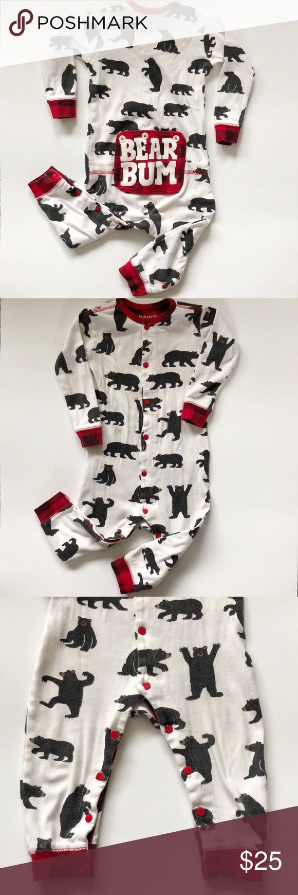 """Hatley """"Bear Bum"""" Long Johns Super cute PJs.  One of our favorite brands.  Really adorable on especially on the back side.  Snaps all the way for easy diaper changing.  No stains. Hatley Pajamas"""
