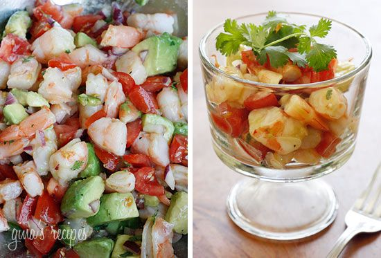 Zesty Lime Shrimp and Avocado Salad  Servings: 4 • Serving Size: 7/8 cup • Old Points: 4 pt • Points+: 5 pt Calories: 210.4 • Fat: 9.2 g • Protein: 25.1 g • Carb: 7.8 g • Fiber: 3.6 g • Sugar: 0.6 Sodium without salt: 260.8 mg   1 lb jumbo cooked shrimp, peeled and deveined, chopped* 1 medium tomato, diced 1 hass avocado, diced 1 jalapeno, seeds removed, diced fine 1/4 cup chopped red onion 2 limes, juice of 1 tsp olive oil 1 tbsp chopped cilantro salt and fresh pepper to taste