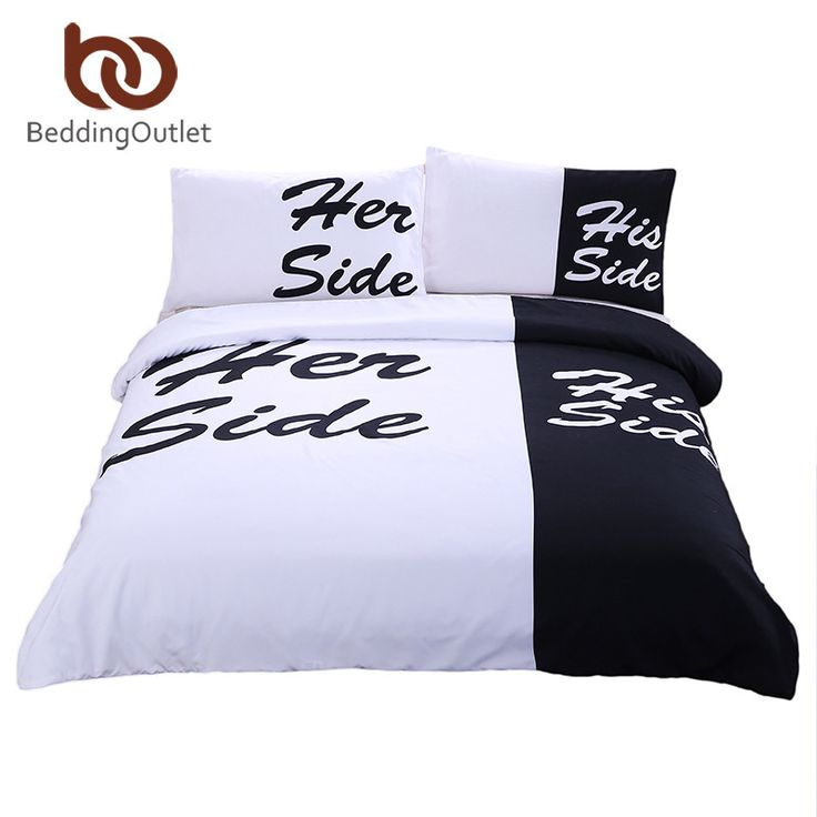 BeddingOutlet Black Bedding Set His Side & Her Side Home textiles Soft Duvet Cover and Pillowcases 3Pcs Twin Full Queen King Hot