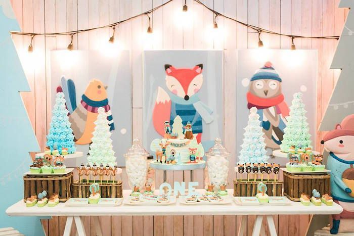 Winter Woodland Birthday Party With Images Winter Woodland