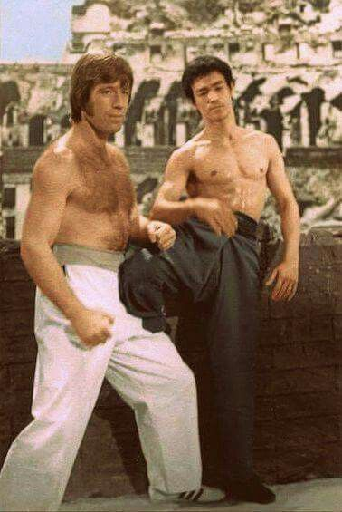 Chuck Norris VS Bruce Lee in Way Of The Dragon. ( Aka Return Of The Dragon in The US ).