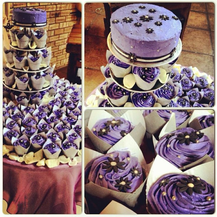 Purple, black and silver wedding cake and cupcakes