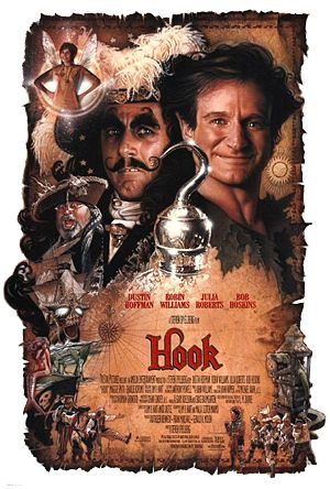 Hook : 1991 - by Steven Spielberg...Dustin Hoffman in the title role, Robin Williams, Julia Roberts, Bob Hoskins etc... unbelievable casters... but I remember I was disappointed after I saw the movie... because the move was different from my imaginary World of Peter Pan... I loved the story of Peter Pan so much that I read the book so many times...and I remembered all the words   and drawings written in the book.
